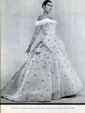 Embroidery Evening Gown,by Jacques Heim, 1955. Photo Guy Arsac