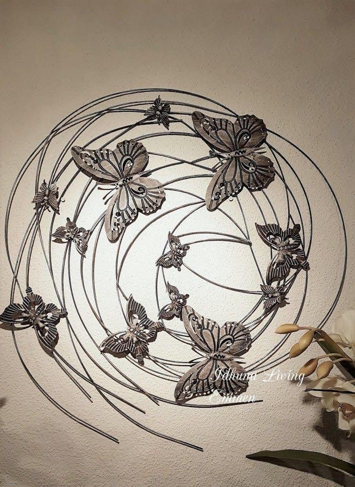 Wanddecoratie metalen vlinders antracietkleurig in 2019