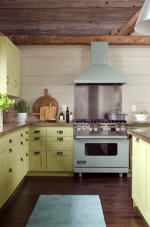 The Hottest Shade For Kitchen Cabinets Is This Cool Avocado Or Wasabi  Color, As Its Known By Designers In The Know. The Mint Julep #VikingRange  And Rug Give ...