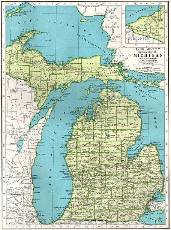 1947 Vintage MICHIGAN MAP State Map of Michigan Gallery Wall
