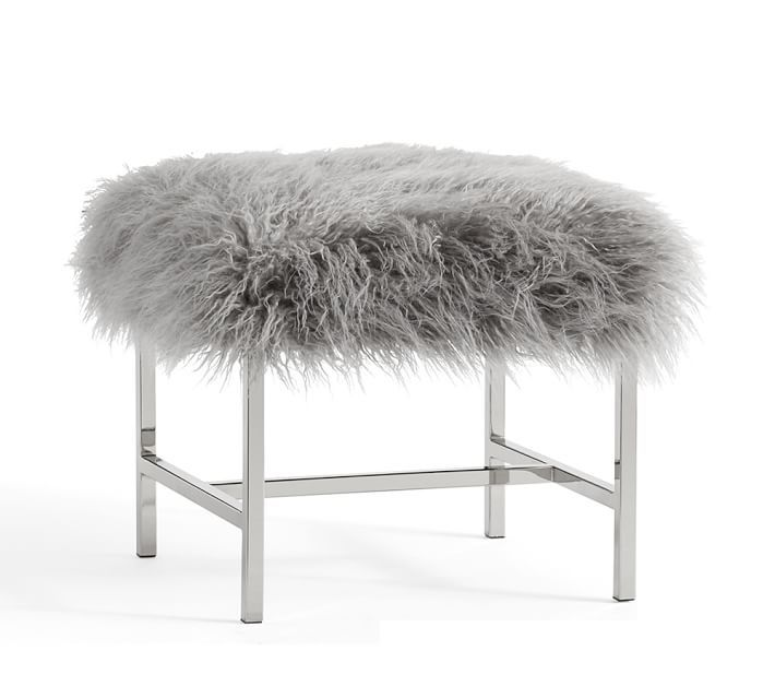 Tavi Mongolian Faux Fur Stool In 2019 Pb Occasional