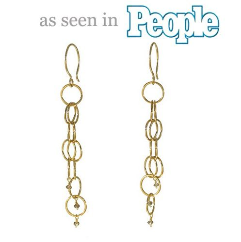 gold circlet duster earrings with champagne diamonds