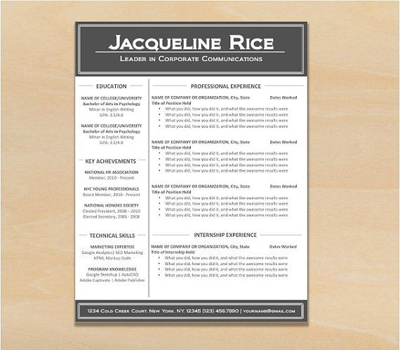 Customizable ResumeCv TemplateBrilliant Scholar Design Instant