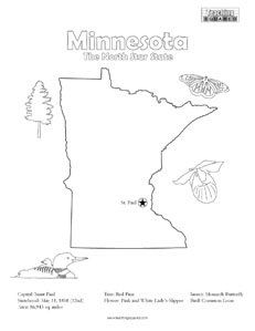 fun Minnesota United States coloring page for kids   Teaching ...