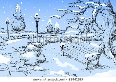 season drawings | Winter Season Drawing | seasons artwork in
