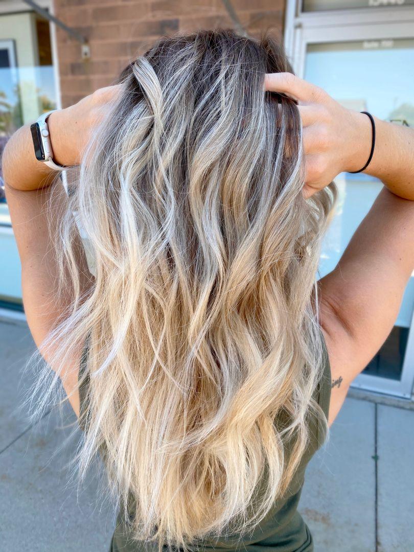 Long, blonde balayage #longhair #brightblonde #blondebalayage #livedinblonde #livedincolor #balayage #balayagehighlights #balayagehairblonde #milwaukee #newberlin