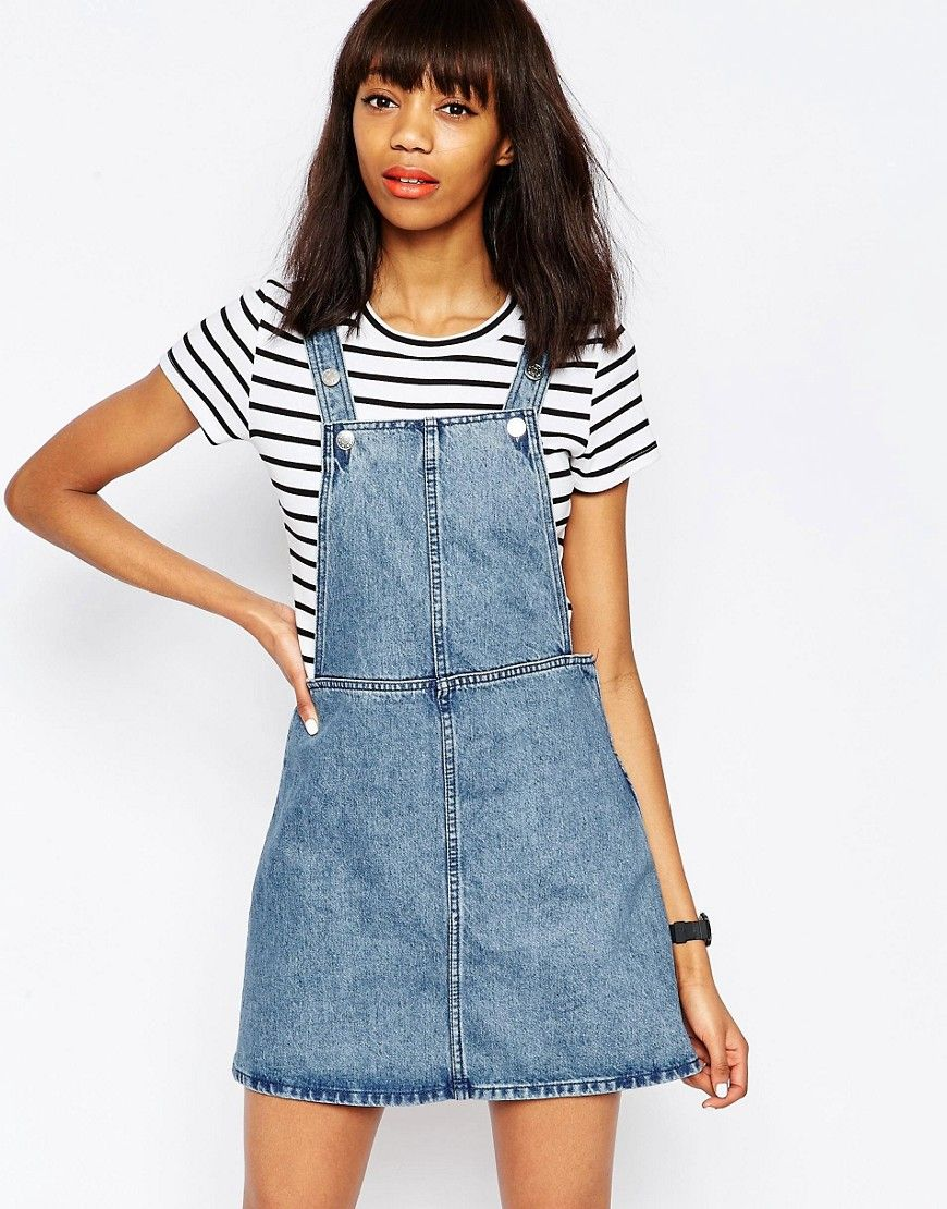 55985adfbb Monki Denim Dungaree Dress White Denim Dress