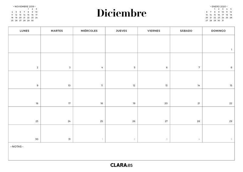 Calendario Diciembre 2020 Para Imprimir.Calendario 2019 Diciembre Descargables Clara Calendario