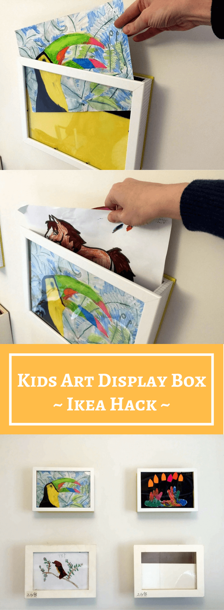 Kids art display box: 10 min hack to store & show your kids art ...