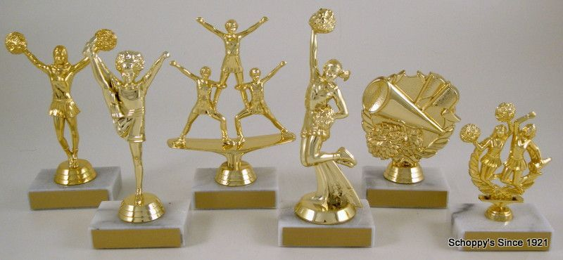 """Your Award Table will Smile, Sparkle and Shine with this Impressive Cheerleading Trophies 7"""" Overall Height"""