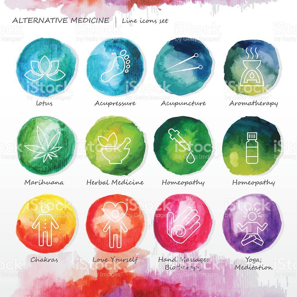 Alternative medicine watercolor line icons set  List of