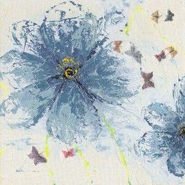 Trendykunst presenteert dit prachtige schilderij van blauwe bloemen.  Olieverfschilderijen zijn met de hand geschilderd op doek.