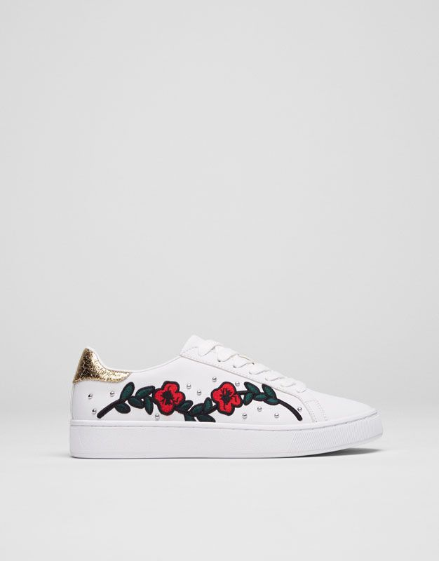 Pull Bear - woman - new - embroidered fashion sneakers - white -  15765211-I2017 e31770a8519