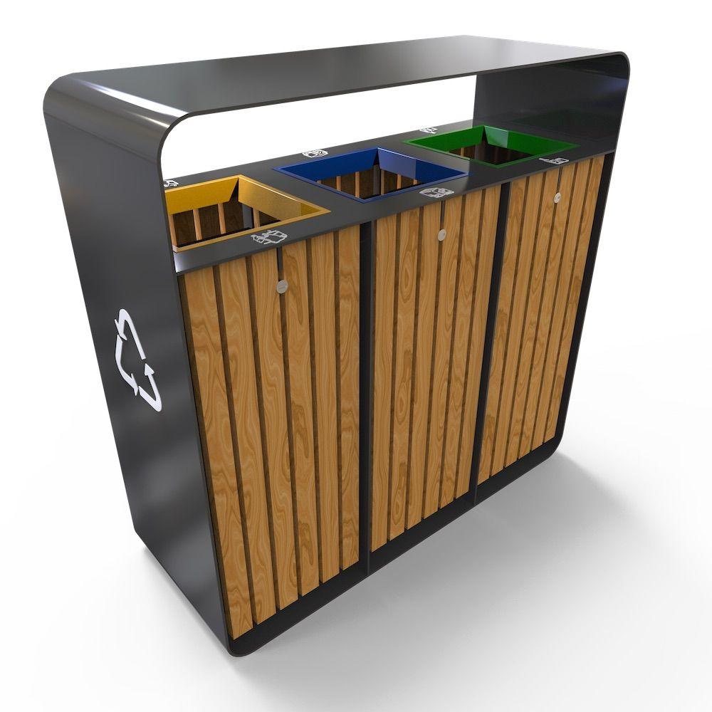 hanko poubelle pour extrieur de tri slectif 3 compartiments 150l - Poubelle Tri Selectif 3 Bacs