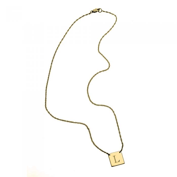 "Jennifer Zeuner - Chloe 1/2"" Square Medal Necklace - Authentic Jennifer Zeuner…"
