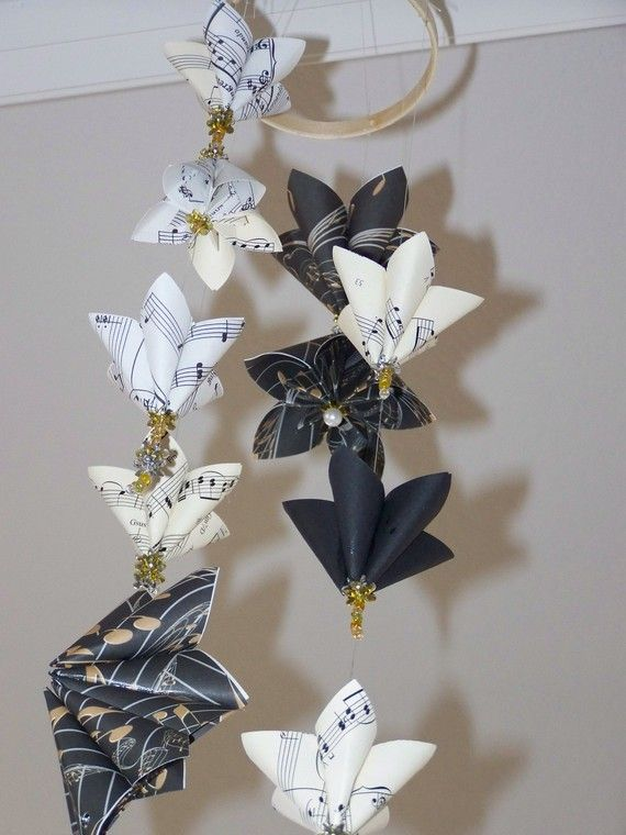 Recycled Sheet Music Origami Cranes - Set of 5 · Origami Delights ... | 760x570