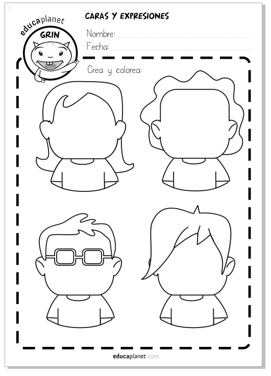 Caras, personajes y avatares Ficha GRATIS para emociones | tecnicas ...