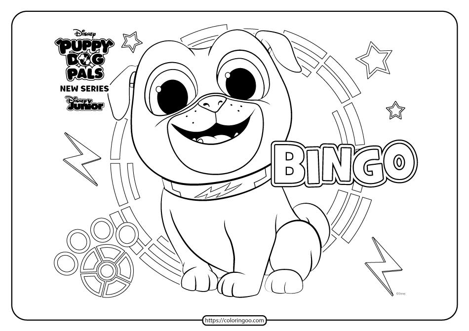 Printable Puppy Dog Pals Bingo Coloring Book Page Dogs And Puppies Puppies Coloring Book Pages