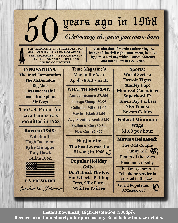 50e Verjaardag Krant Poster 1968 Feiten 16 X 20 8 Dad Birthday 50th