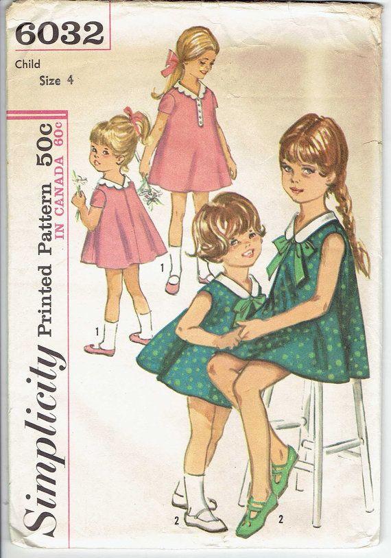 51f4a6b9b24 Simplicity 6032 Size 4 - UNCUT   Factory Folded Vintage 60 s Little Girl s  A-Line