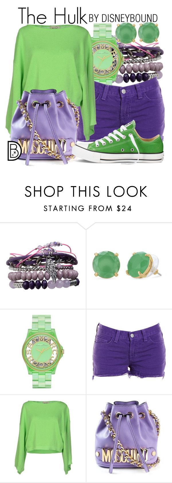 """""""The Hulk"""" by leslieakay ❤ liked on Polyvore featuring Pieces, Stella & Dot, Marc by Marc Jacobs, J Brand, KI6? Who Are You?, Moschino, Converse, women's clothing, women's fashion and women"""