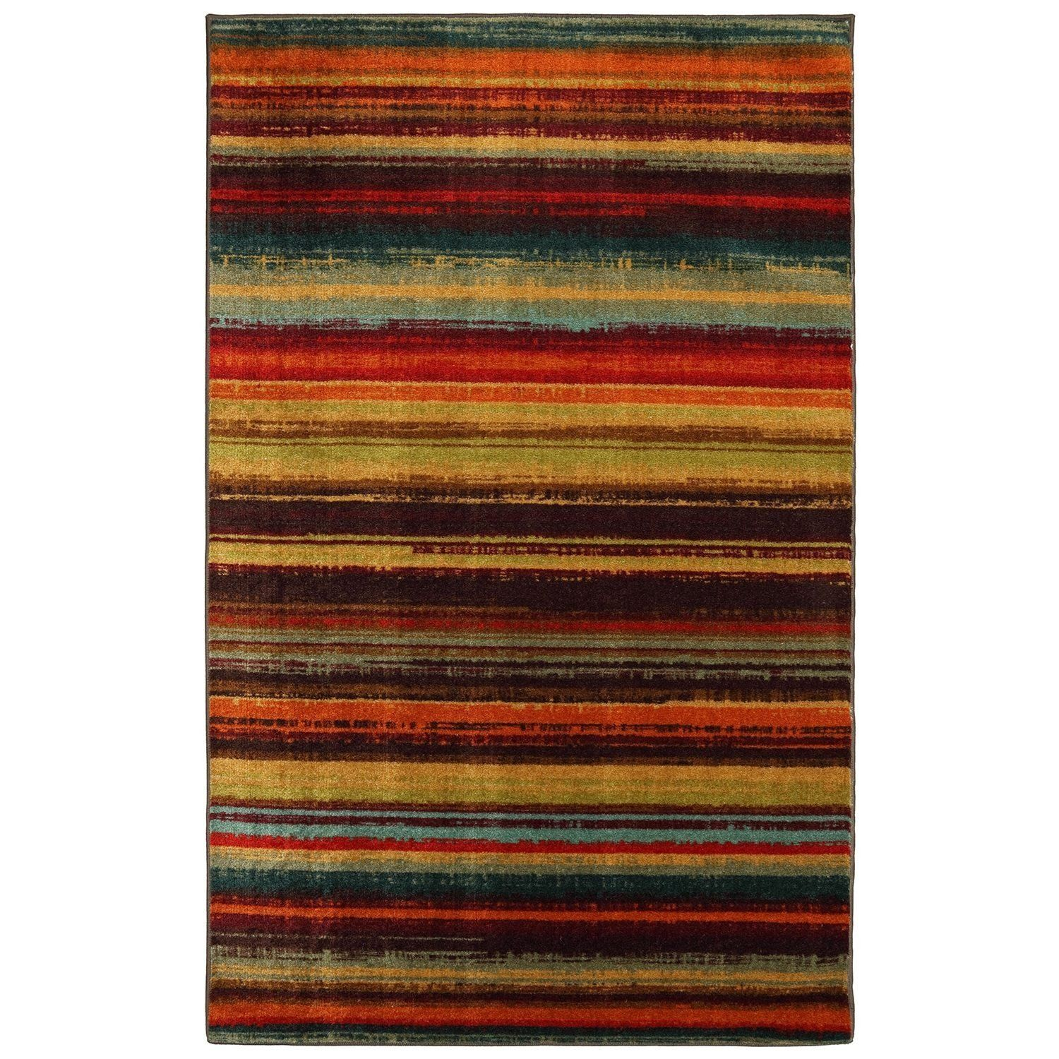 2 6 X 3 10 Color Striped Area Rug Blue Red Green Gold Contemporary