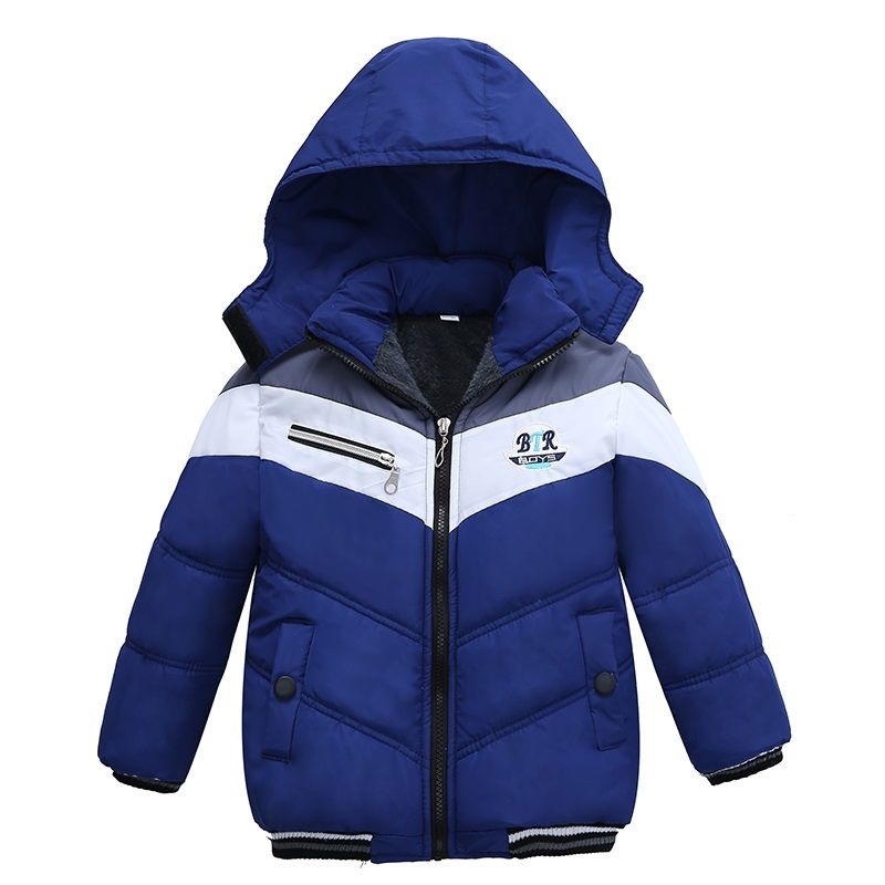 05922bf6971a New Fashion Patchwork Boys Jacket Outwear Warm hooded Winter jackets ...