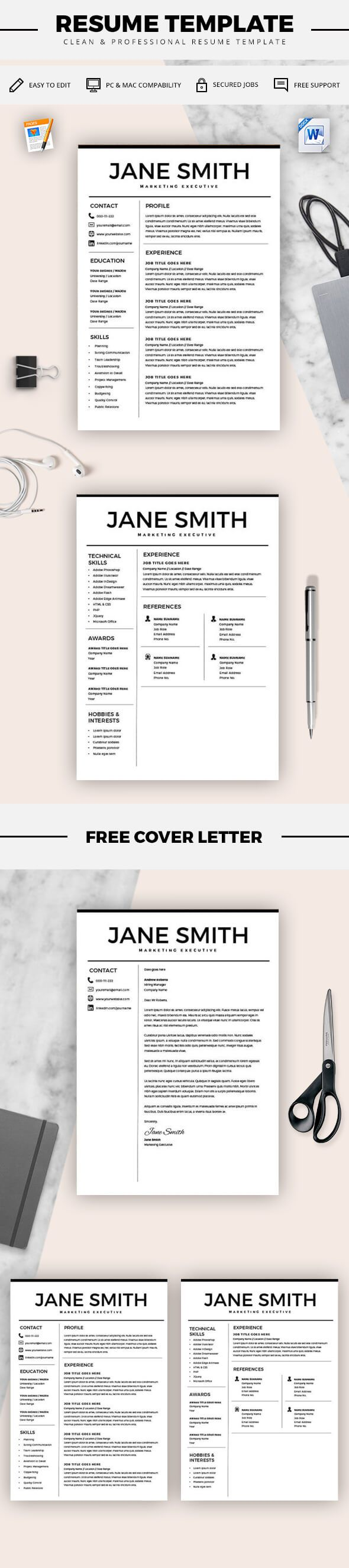 resume for microsoft word minimal resume template cv template cover letter for ms - Microsoft Resume Template