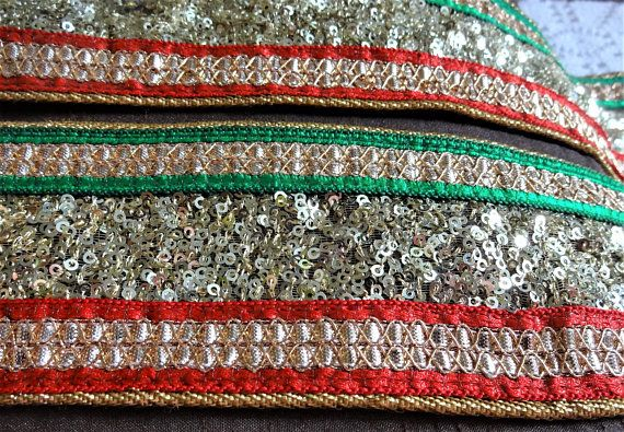 Embroidery Craft sewing trimming; India Ribbon with Gujarat Hand embroidery  trim,   Mirror