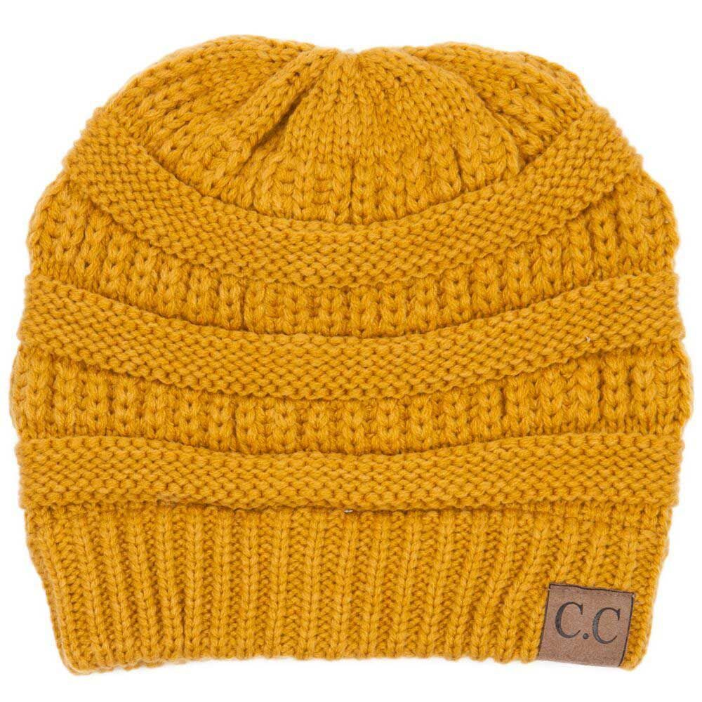 20422c6fea6 C.C. Beanie Cable Knit Beanie in Mustard HAT-20A-MUSTARD ...
