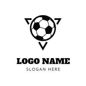Black Triangle And Soccer Logo Design Football Logo Design Soccer Logo Logo Design