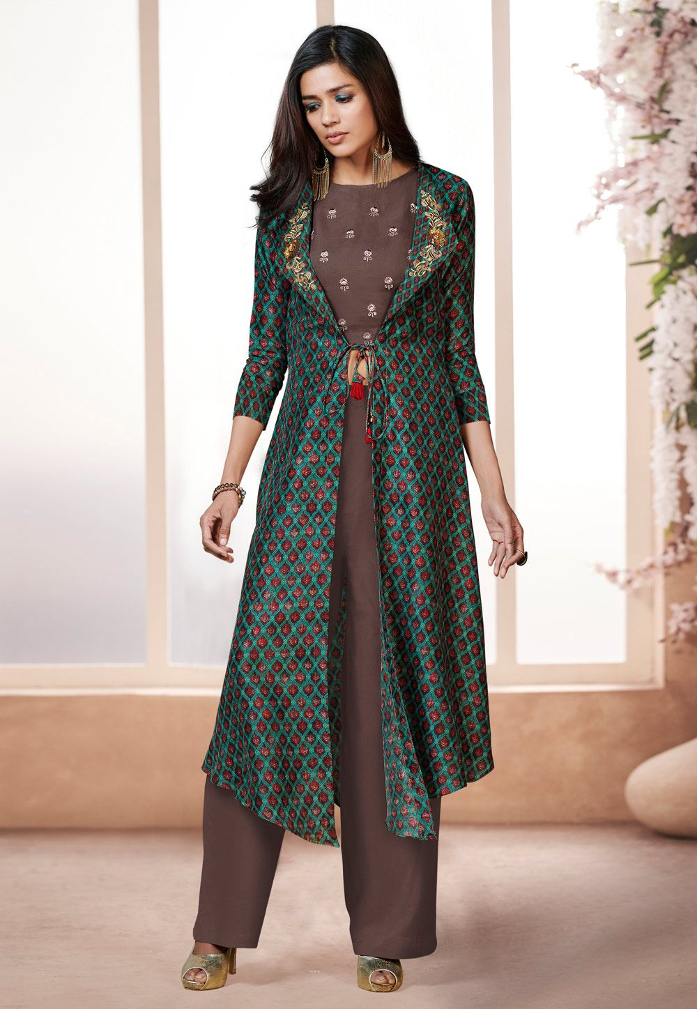 6b5a3b17d0 Buy Brown Rayon Readymade Palazzo Suit With Jacket 157564 online at lowest  price from huge collection of salwar kameez at Indianclothstore.com.