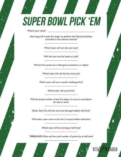 Printable Super Bowl Party Game Wit Wander Superbowl Party Games Super Bowl Football Super Bowl Football Party