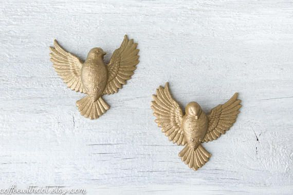 2 vintage small gold bird wall hangings plastic sparrows vintage 2 vintage small gold bird wall hangings plastic sparrows vintage and main pinterest wall hangings bird and walls thecheapjerseys Gallery