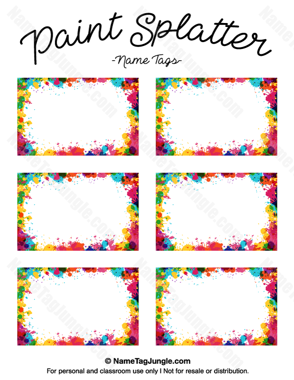 Free printable paint splatter name tags the template can also be used for creating items like for Name tag template free printable