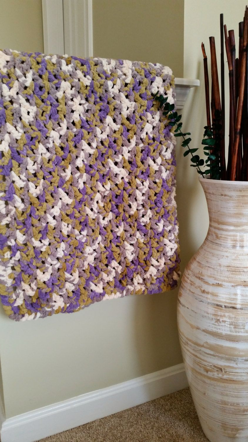 Crocheted V-Stitch Baby Blanket in Lilac and Sage Chenille by ...
