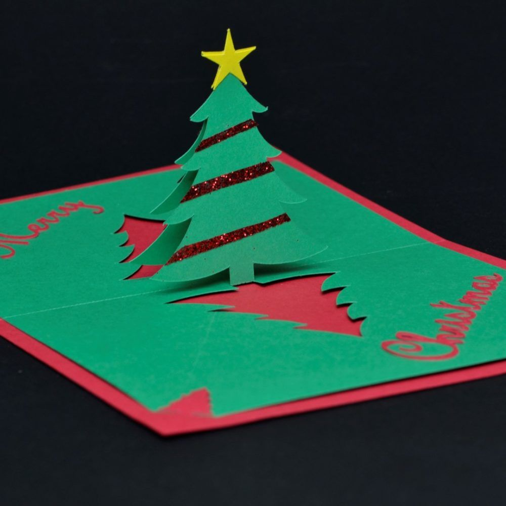 Easy Christmas Tree Pop Up Card Template Creative Pop Up Cards Pop Up Christmas Cards Homemade Christmas Cards Pop Up Card Templates