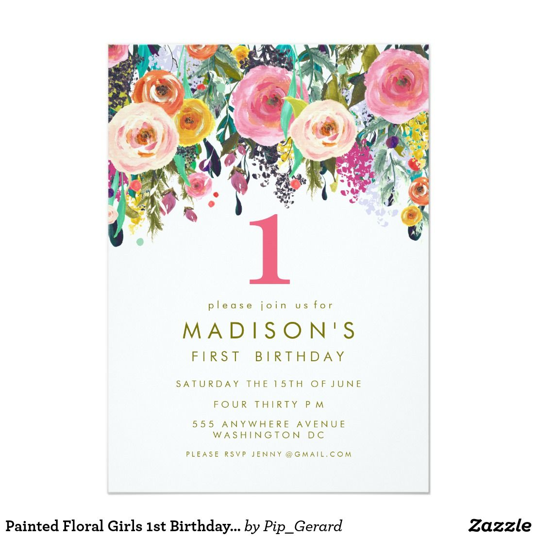 Painted Floral Girls 1st Birthday Invite | Birthdays and Party ...