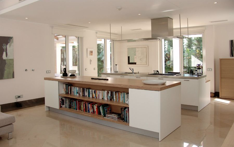 Portugal Algarve, modern white kitchen, love the bookshelf!