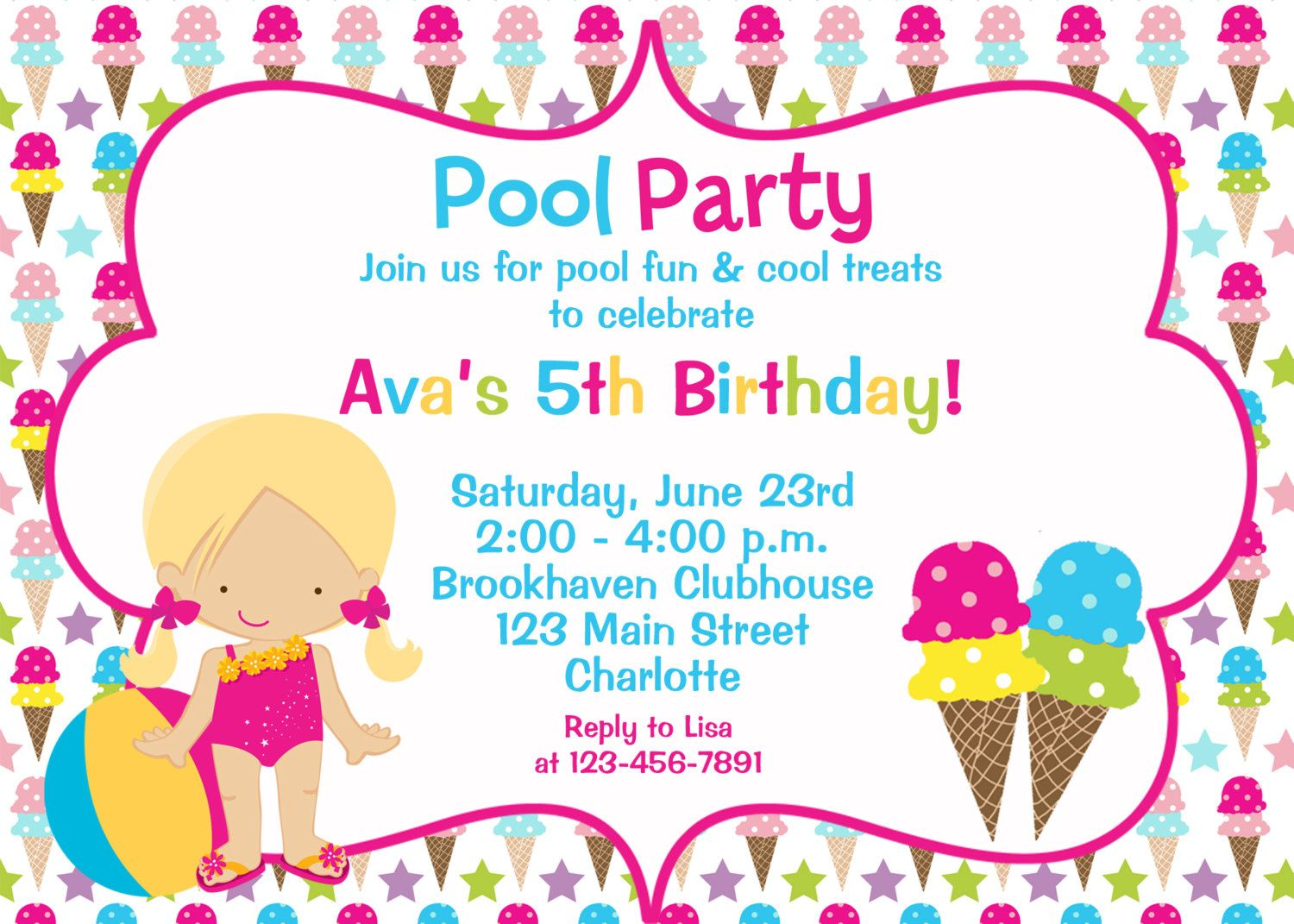 Pool and Ice cream party birthday Invitation by TheButterflyPress ...