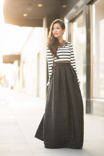 Full Lenght Maxi Skirt with Crop top and Black Hee... | - a lot of ...