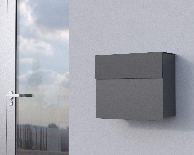 Bravios Briefkasten design briefkasten molto in grau metallic ral9007 hat besonders viel