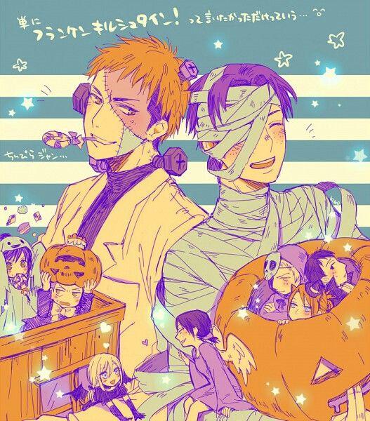 Happy Halloween, Erwin, Levi, characters, Frankenstein, mummy, cute, text; Attack on Titan