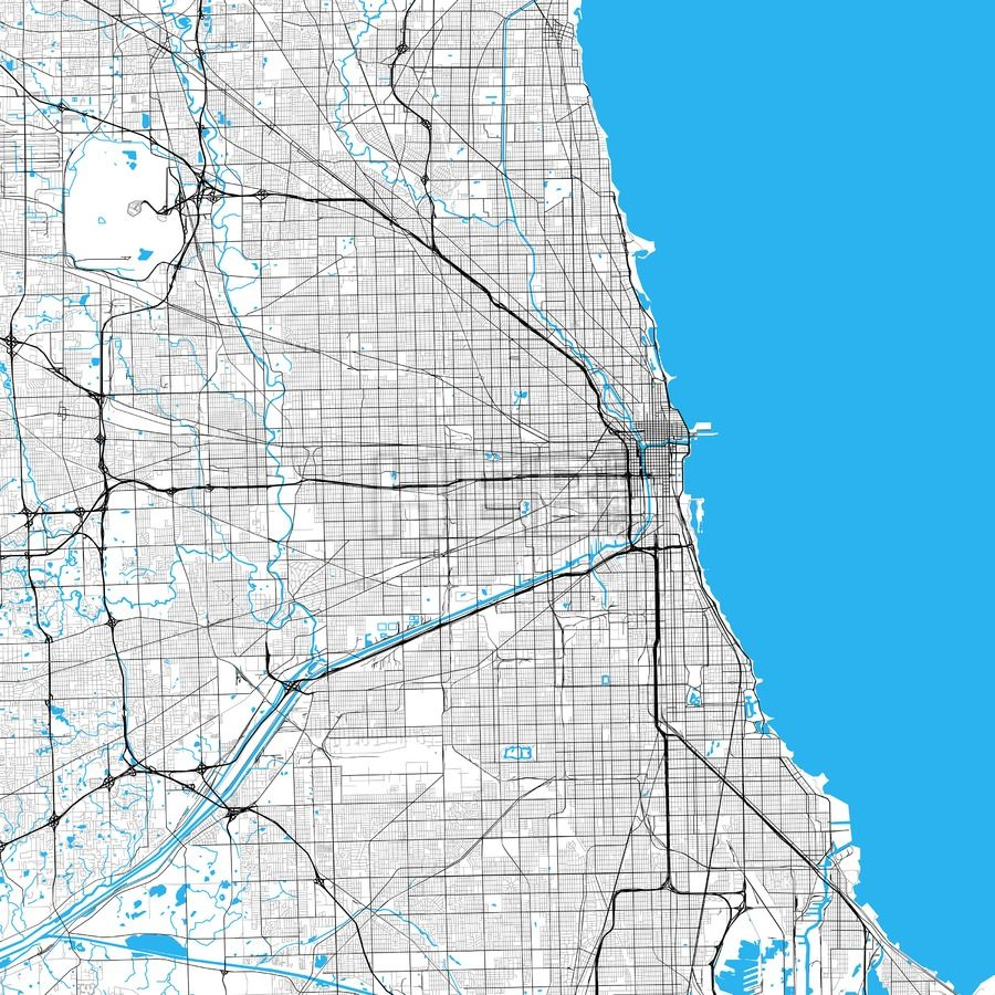 Chicago High Resolution Vector Map Chicago