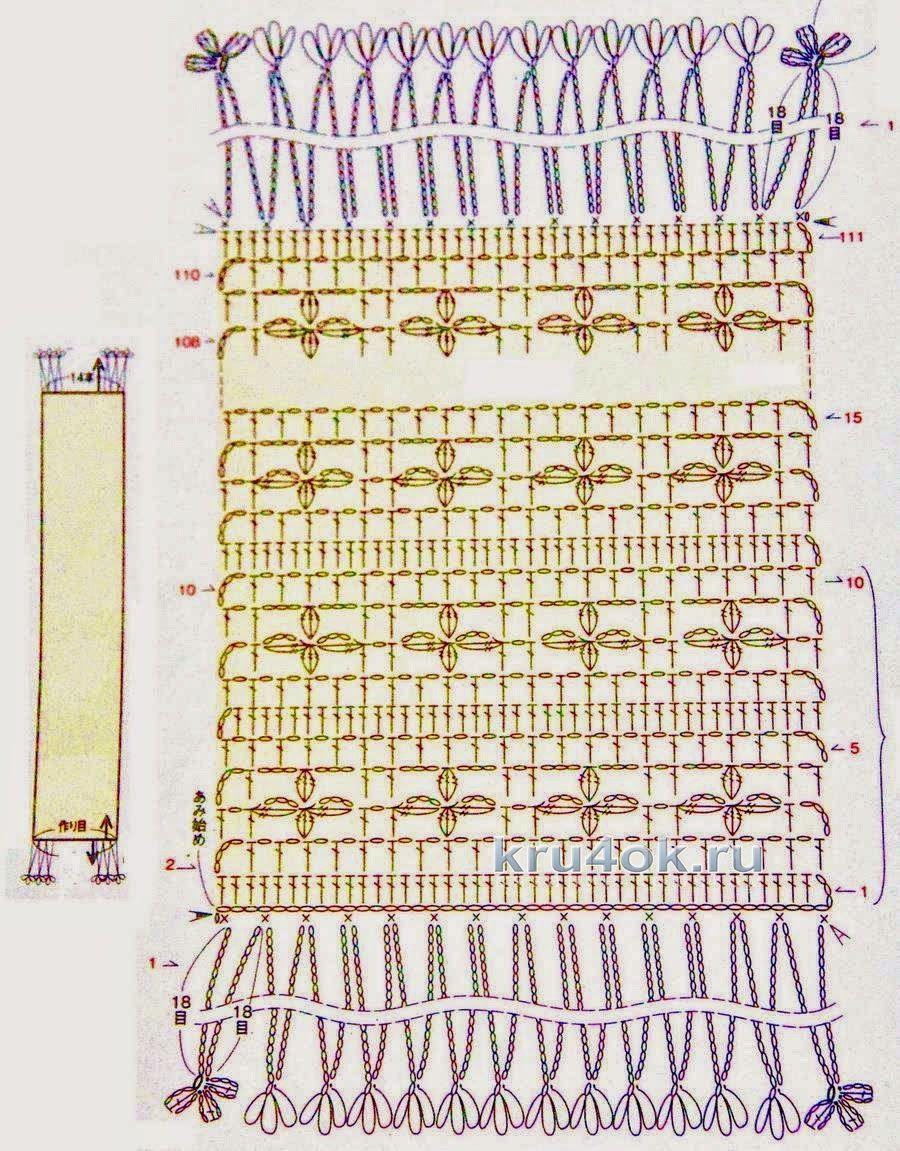 картинки вязка крючком шарфа пошаговое обучение этого профиля