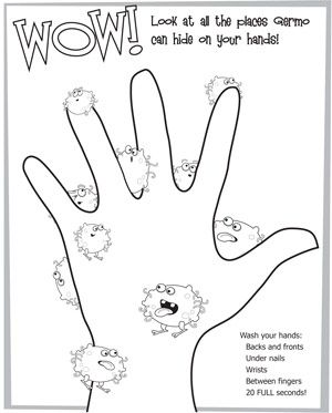 Coloring Pages Germophobe Com Body Preschool Germs For Kids Hygiene Activities