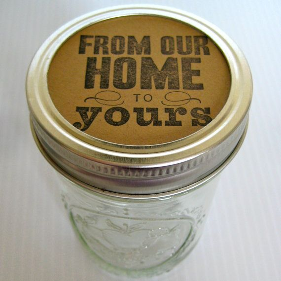 FREE SHIPPING Kraft Brown Jar Lid Label 24 piece hand stamped your choice by BRANDYSINKDESIGNS, $5.00