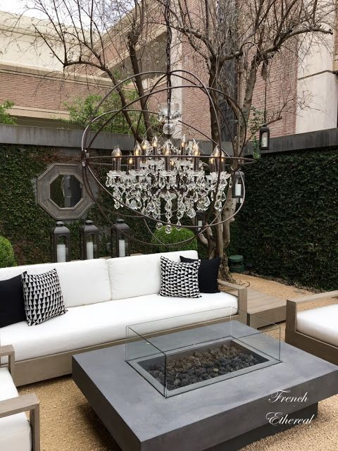Beau French Ethereal: Places To Shop With Sparkle On The Menu ~ Sleek Outdoor  Furniture, A Firepit And A Crystal Orb With Glass Chandelier Inside Set A  Serene ...