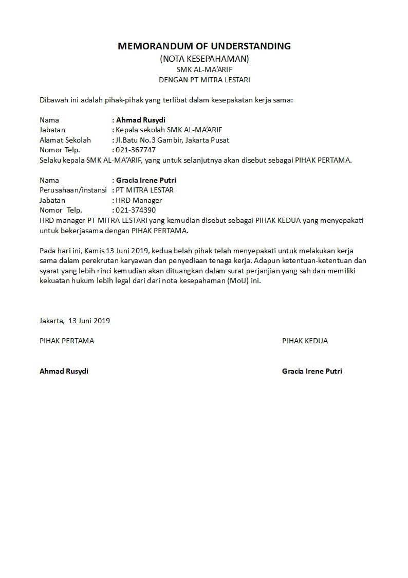 Contoh Memorandum Of Understanding Mou Kerjasama Sekolah Perusahaan Dinas Organisasi Dan Sekolah Kepala Sekolah Organisasi