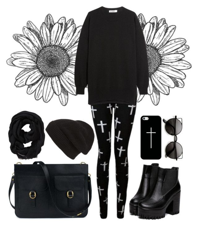 """""""Back in Black"""" by loveclassic ❤ liked on Polyvore featuring Jil Sander, Phase 3, Old Navy and Casetify"""